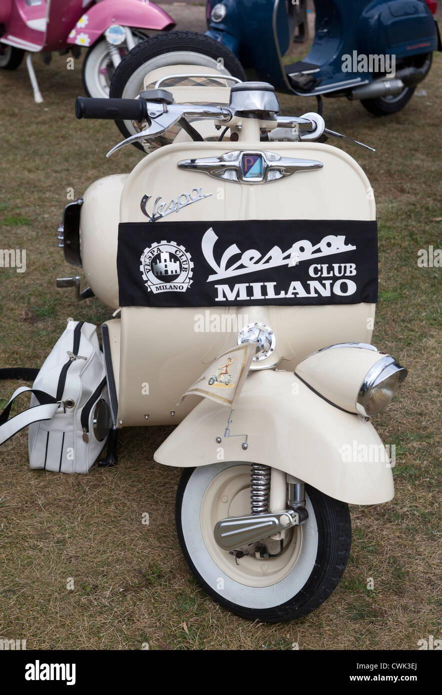 Classic Vespa Scooter with Milano Club Sash - Stock Image