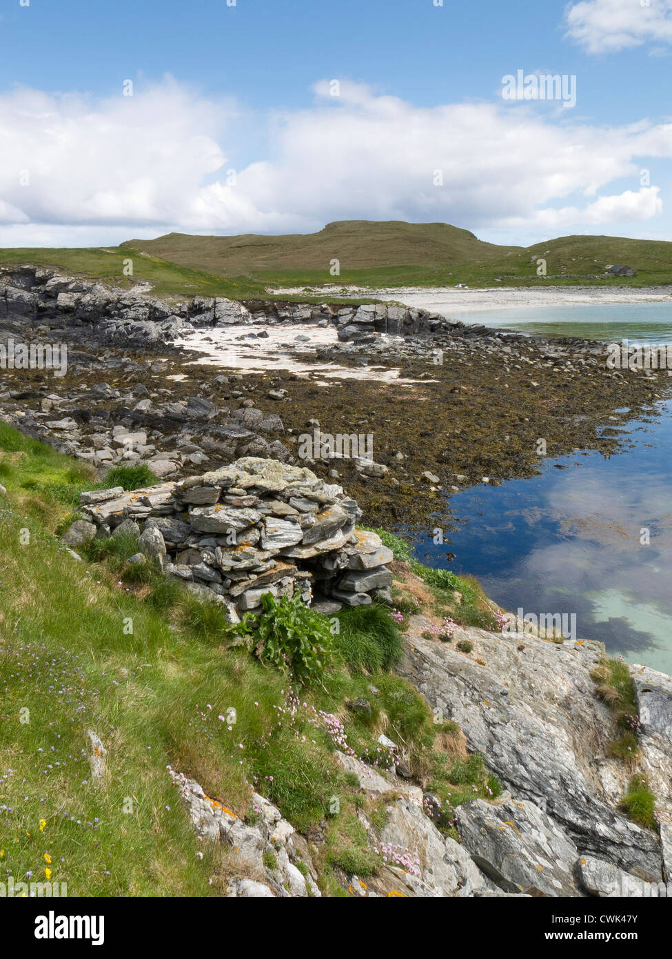 Disused otter trap on the coast of Shetland Mainland. June 2012. - Stock Image
