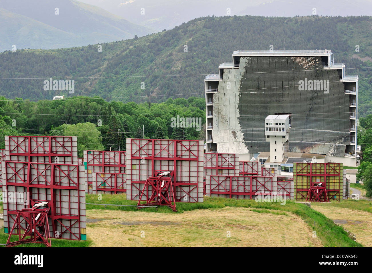 The solar furnace / Four solaire d'Odeillo at Odeillo in the Pyrénées-Orientales, Pyrenees, France - Stock Image