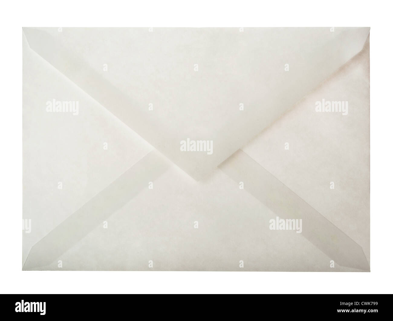 Back side of white paper envelope isolated on white - Stock Image