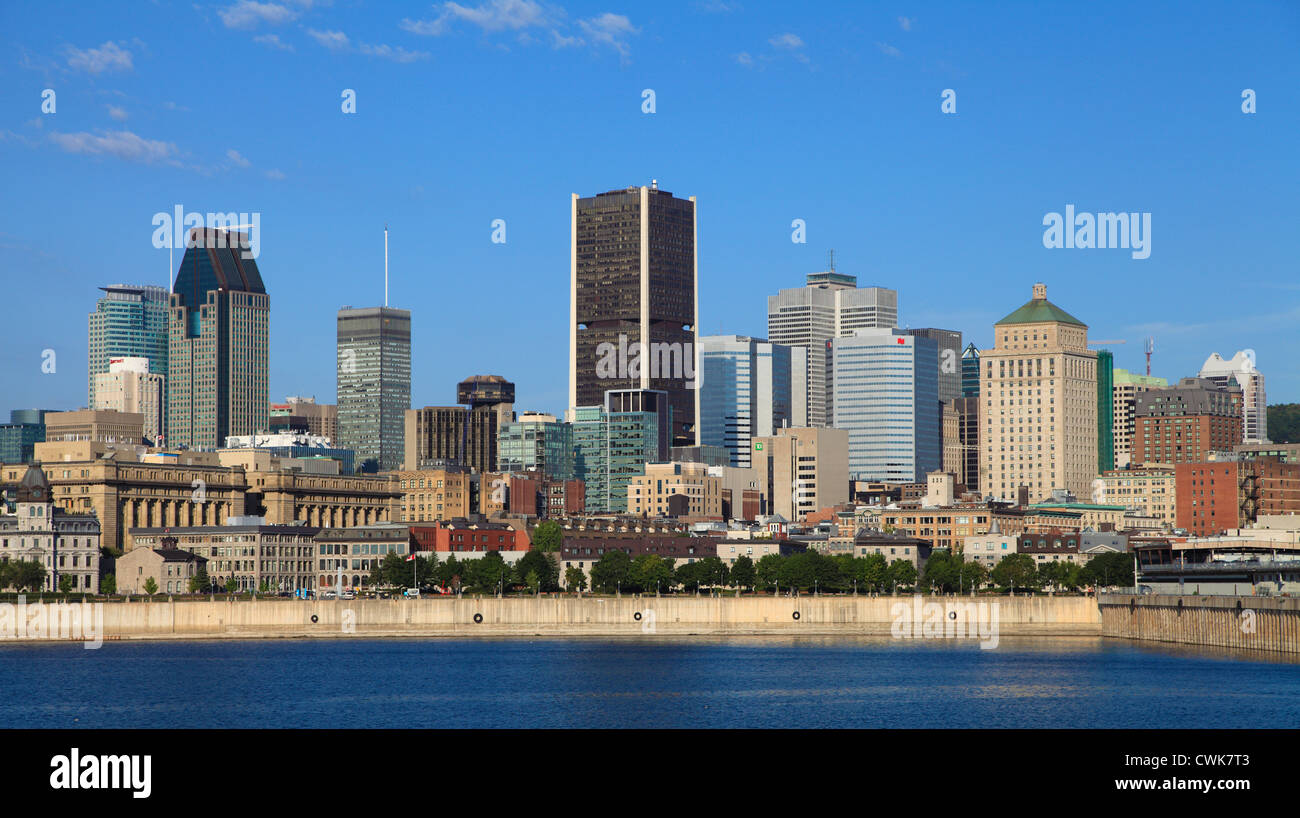 Canada, Quebec, Montreal, skyline, St Lawrence River, - Stock Image