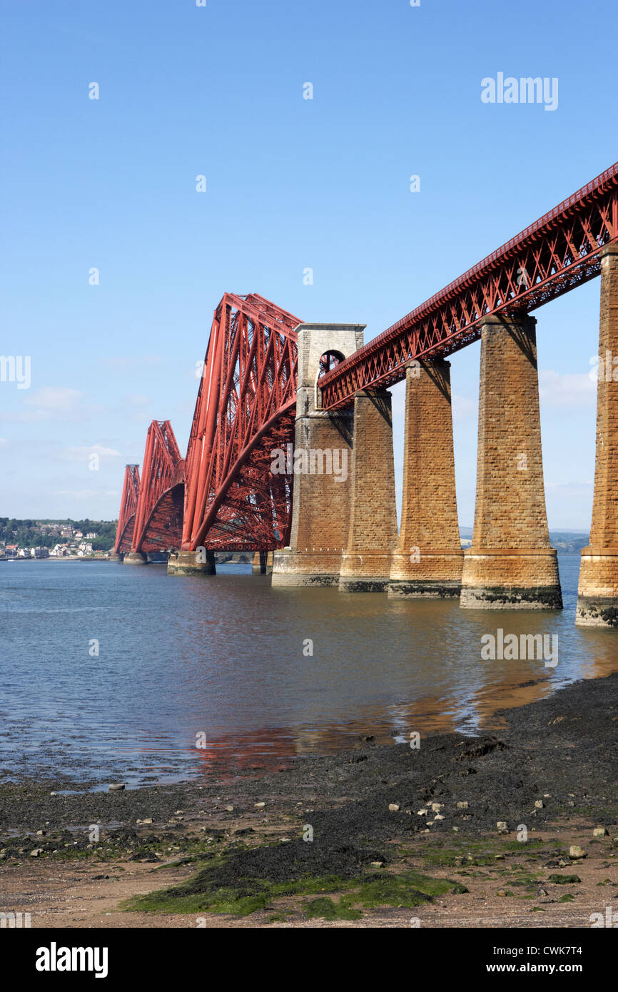 forth bridge cantilever railway bridge over the first of forth scotland uk united kingdom viewed from south queensferry - Stock Image