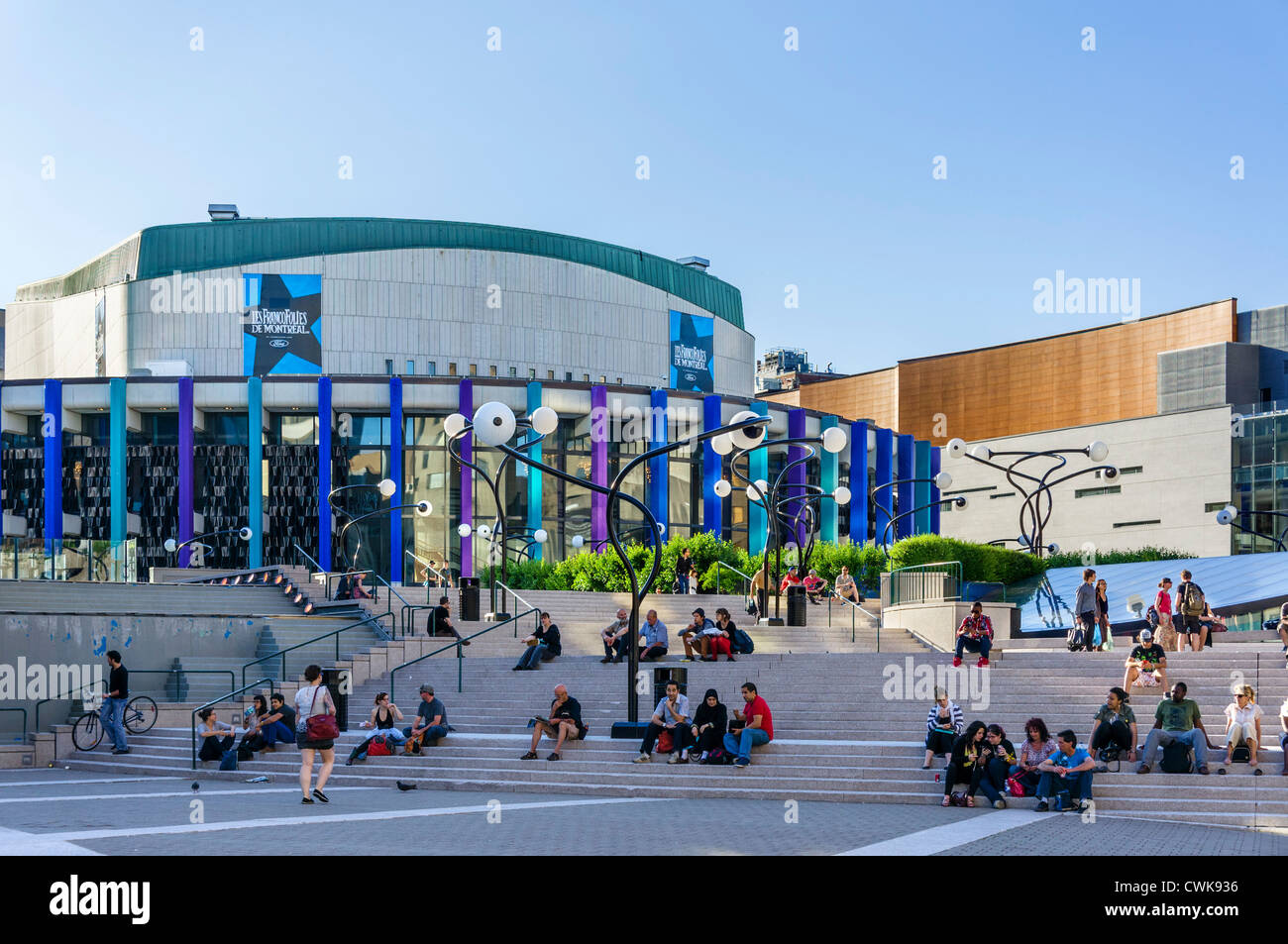 The Salle Wilfred-Pelletier in the Place des Arts, Quartier des Spectacles, Montreal, Quebec, Canada - Stock Image