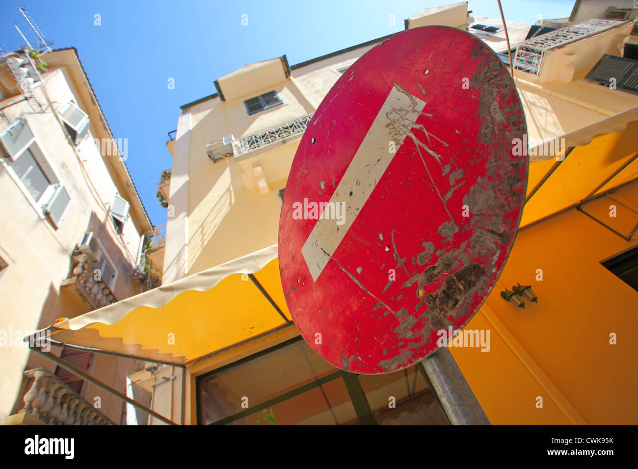 No Entry (Do Not Enter) road sign. Low angle view. Kerkyra town, Corfu Island, Greece. - Stock Image