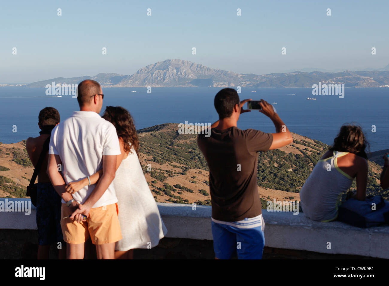 Viewpoint of Tarifa with at the strait of Gibraltar and the Africa coast - Stock Image