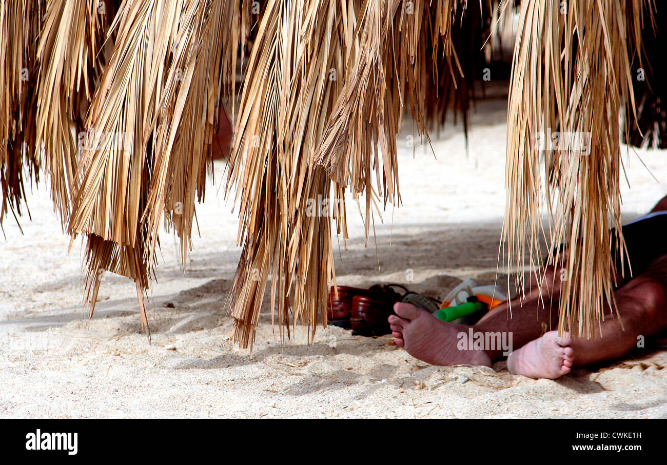 Beach in Egypt, Sunbather´s Feet - Stock Image