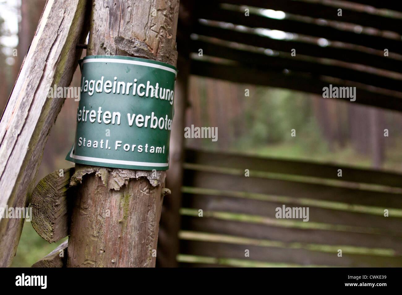 Jagd, Unterstand, Betreten Verboten - Stock Image