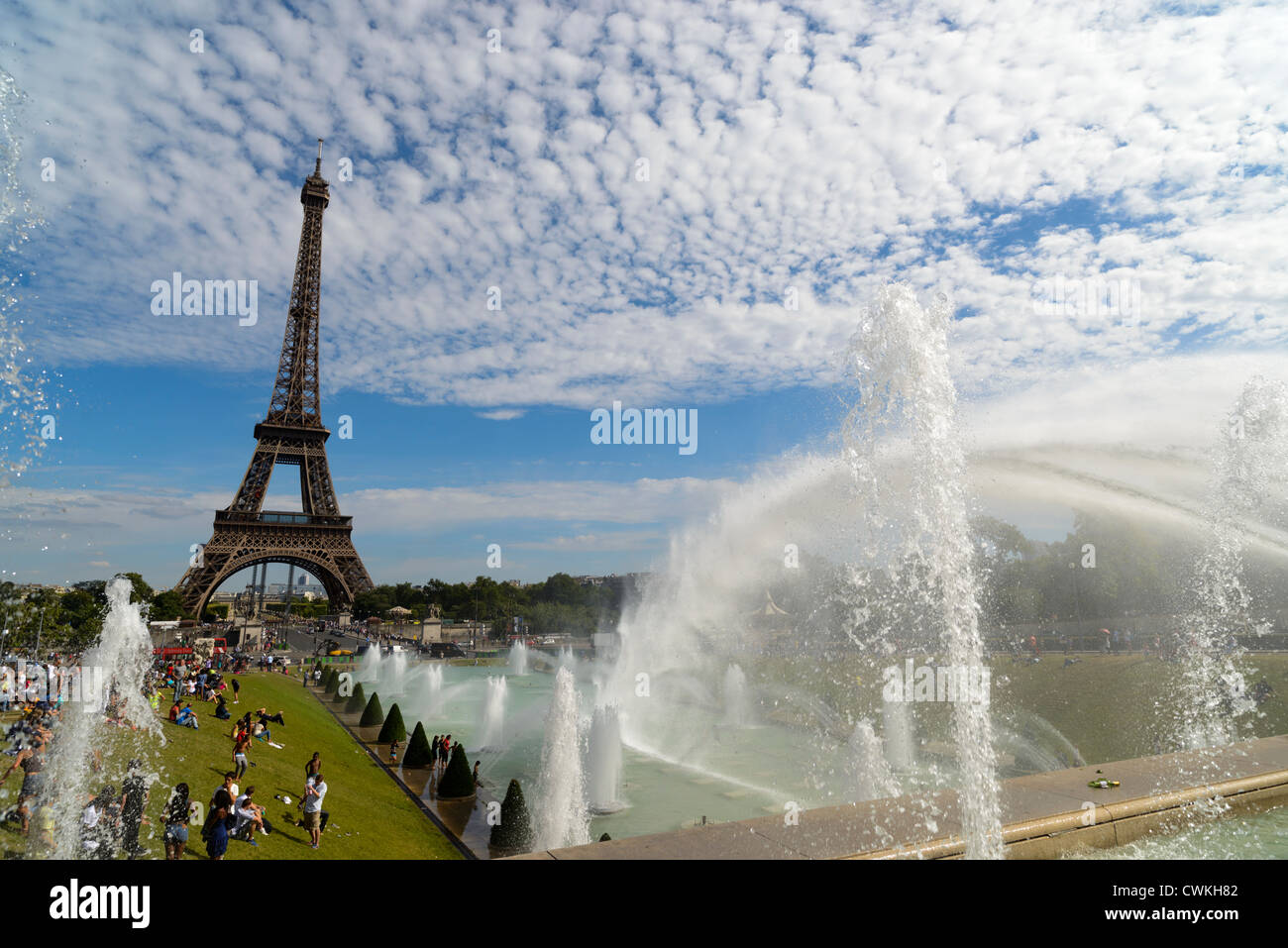 Trocadero with the Eiffel Tower, Paris, France - Stock Image