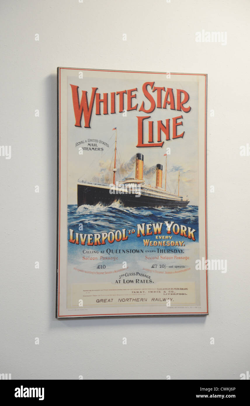 Antique White Star Line advertising poster, Southampton, Hampshire, England, United Kingdom - Stock Image
