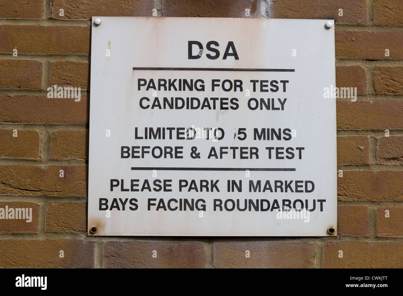 DSA - Practical driving test centre sign in Brighton. - Stock Image