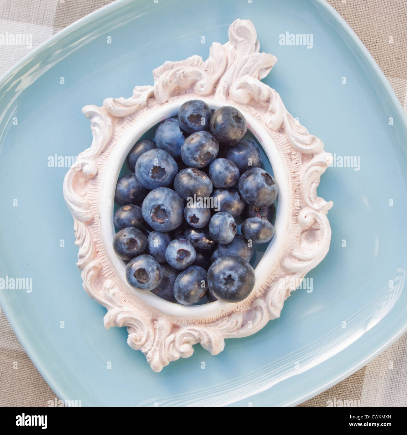 blueberries decorated on a table - Stock Image
