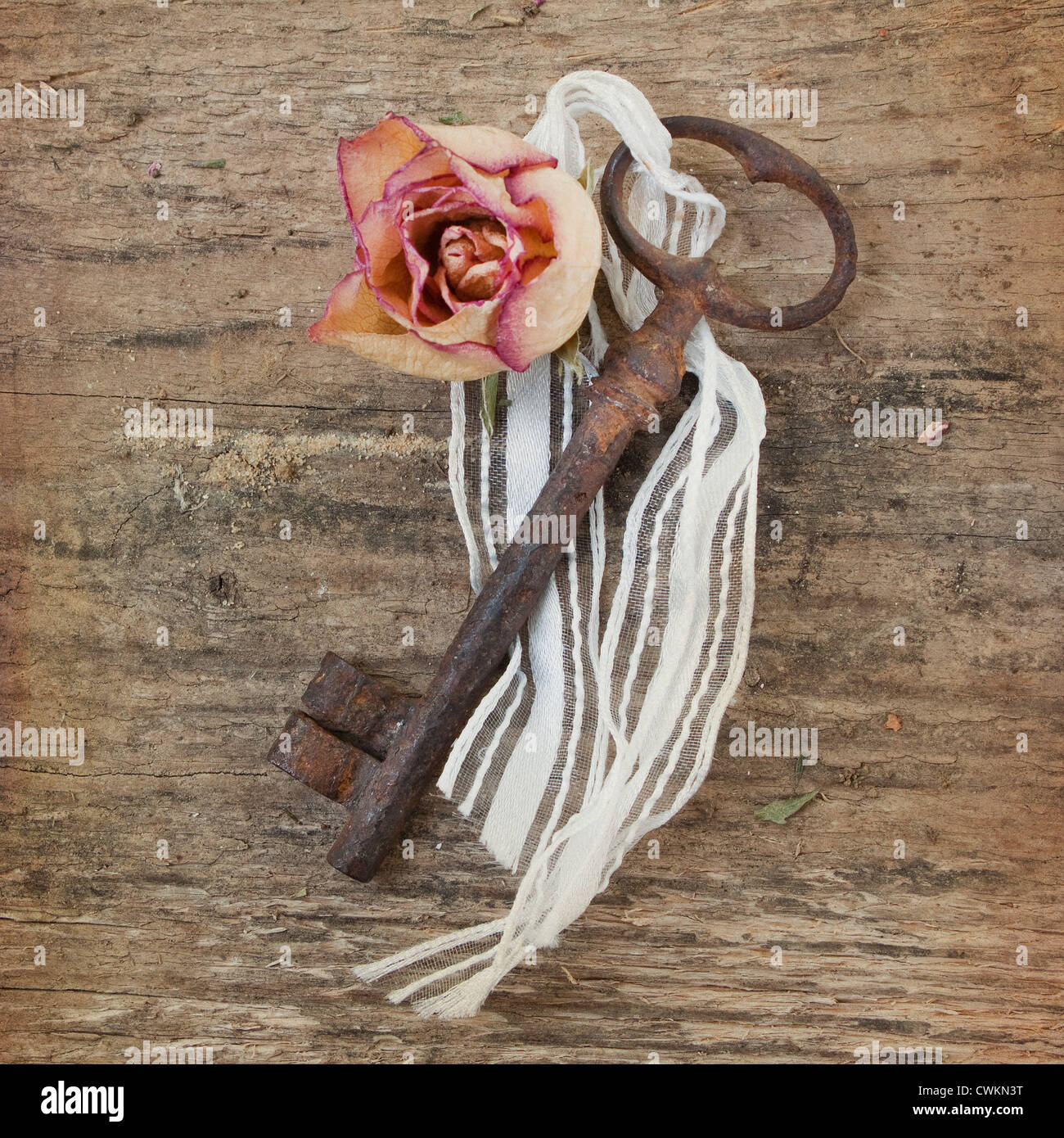 old rusty key with flower on a wooden background - Stock Image