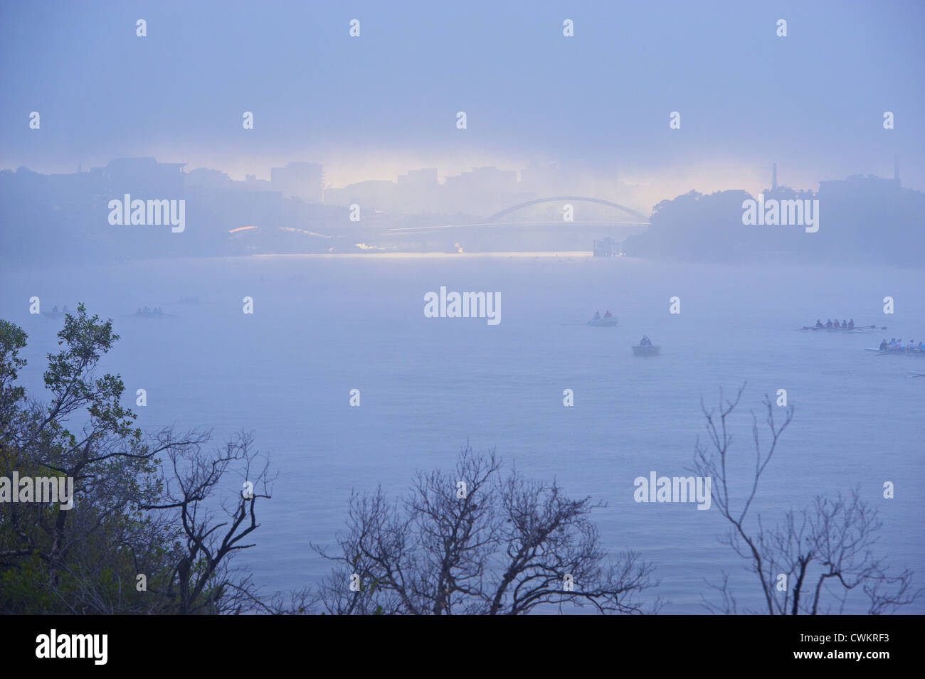 Brisbane city in morning fog, Queensland Australia Stock Photo