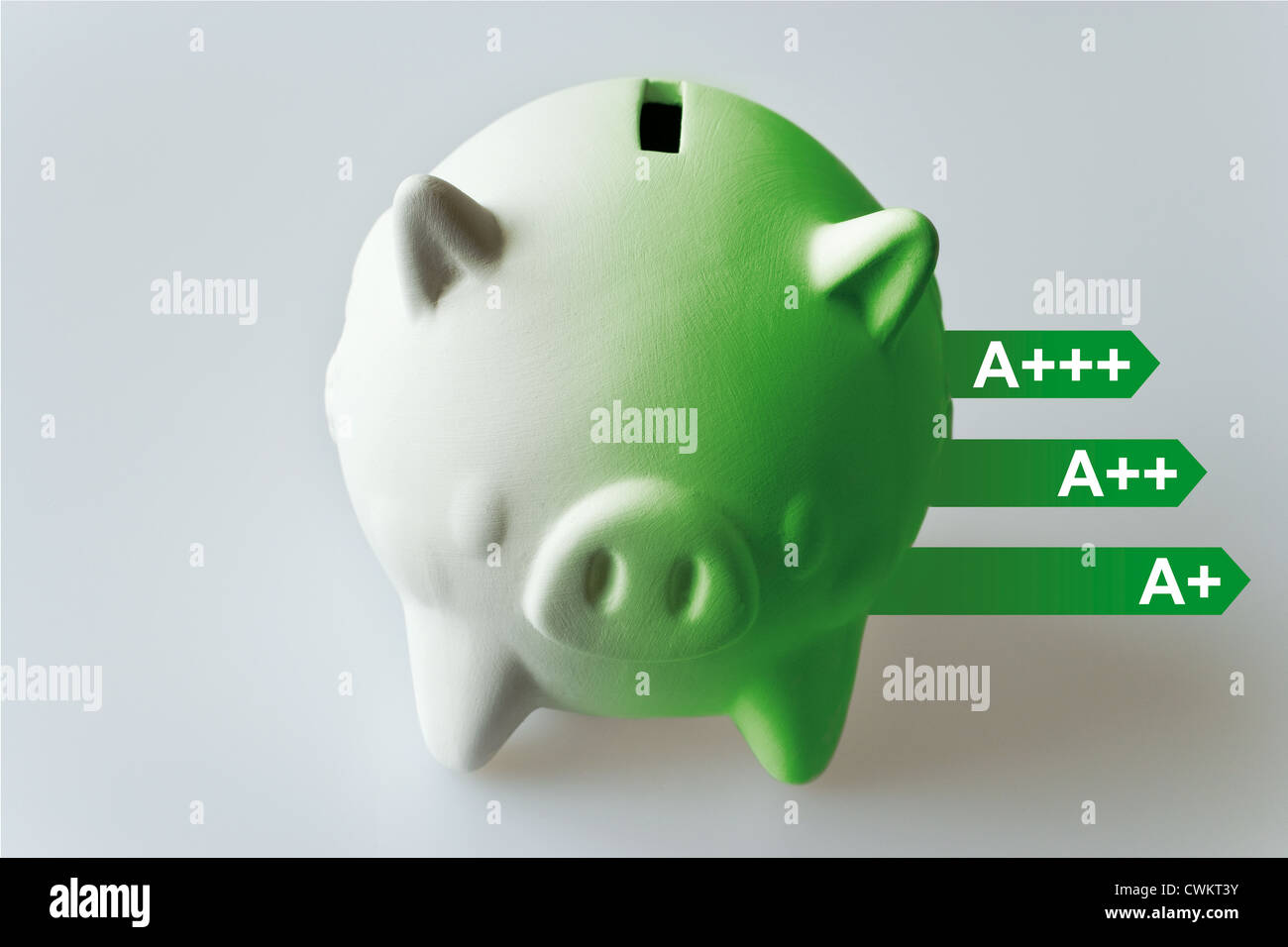 Piggy bank with energy savings scale - Stock Image