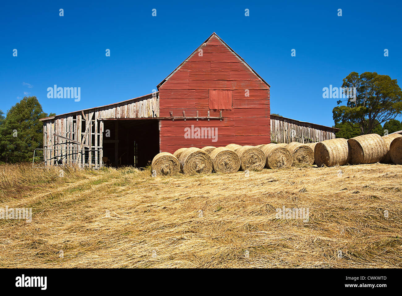 Hay bales and old barn Victoria Australia Stock Photo