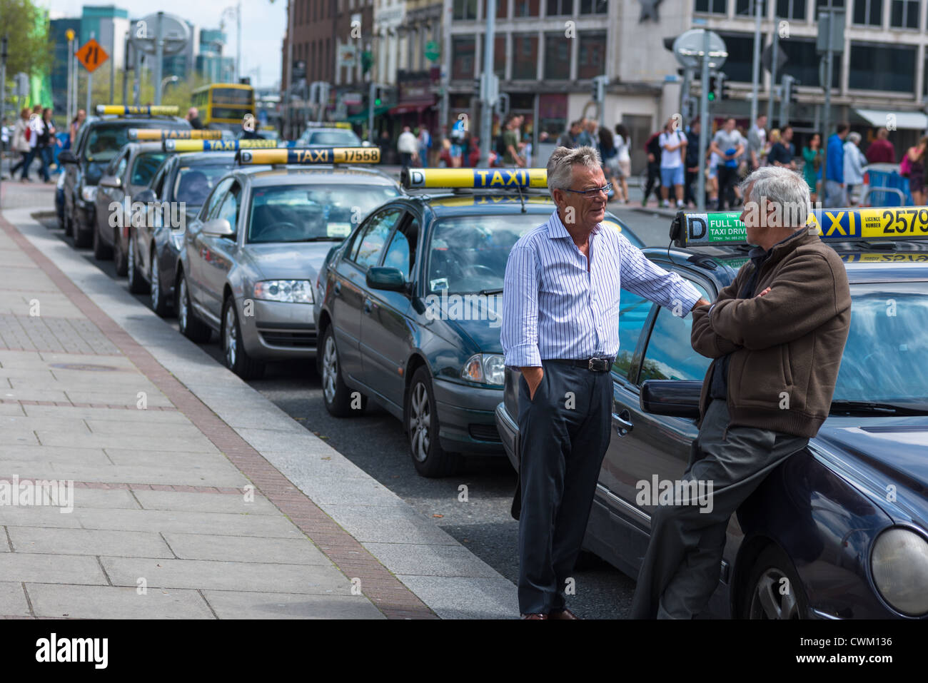 Cabbies at Dublin Taxi rank in City Centre, Republic of Ireland. Stock Photo
