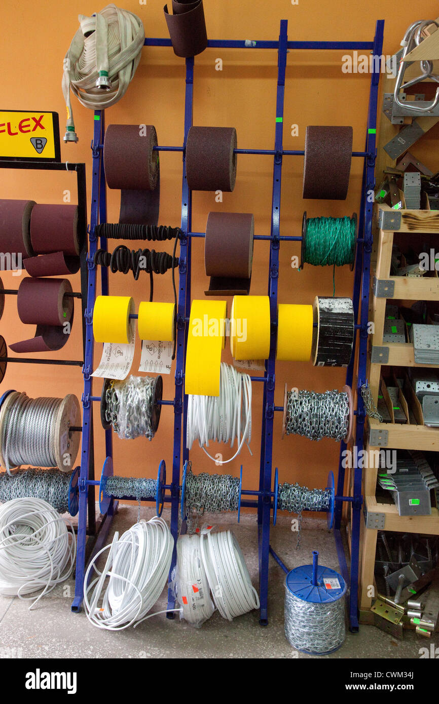 Display of wire on rolls in a Polish hardware store ... on