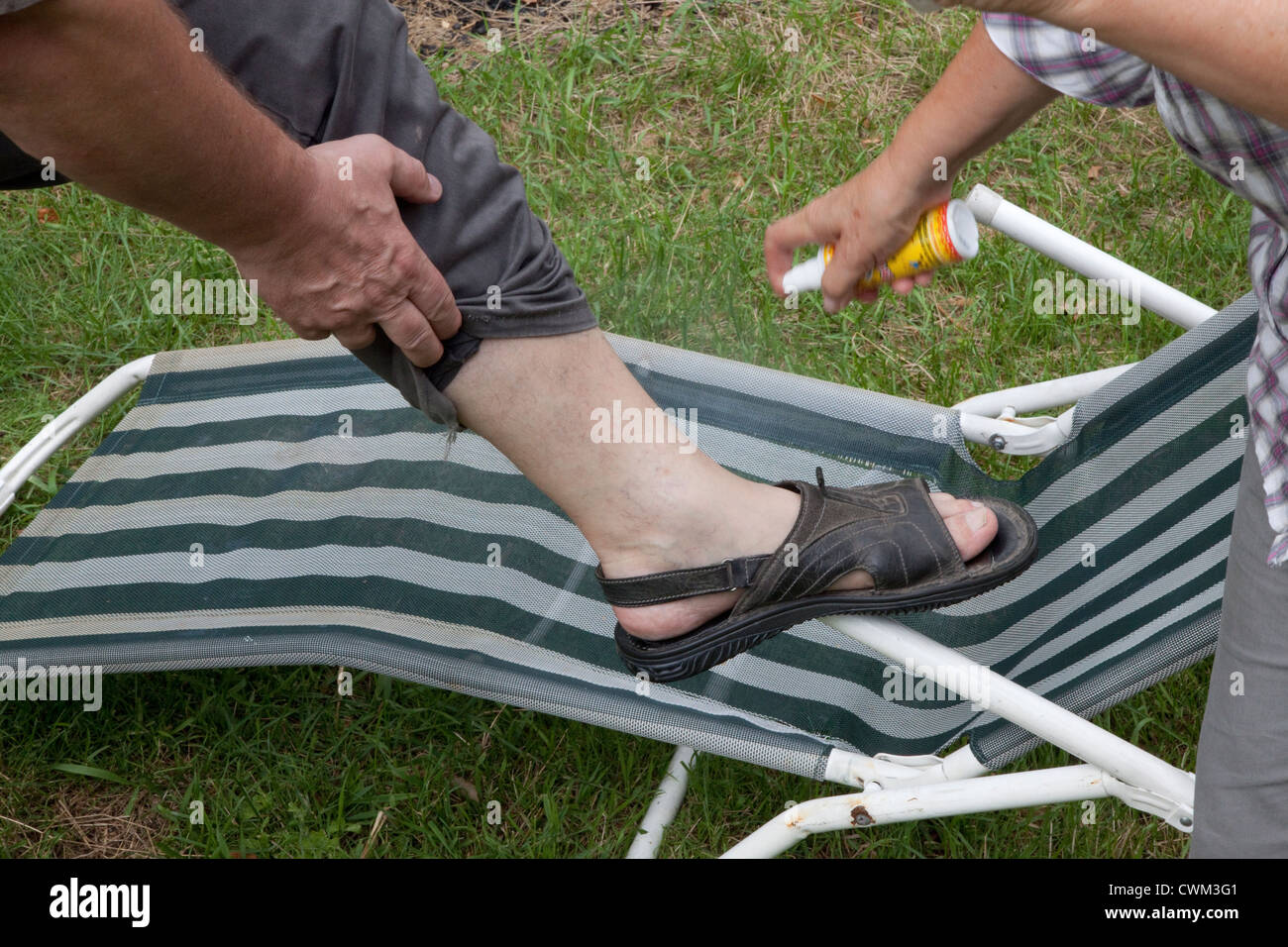 Applying aerosol spray of Mosquito repellent to bare ankle. Zawady Central Poland - Stock Image