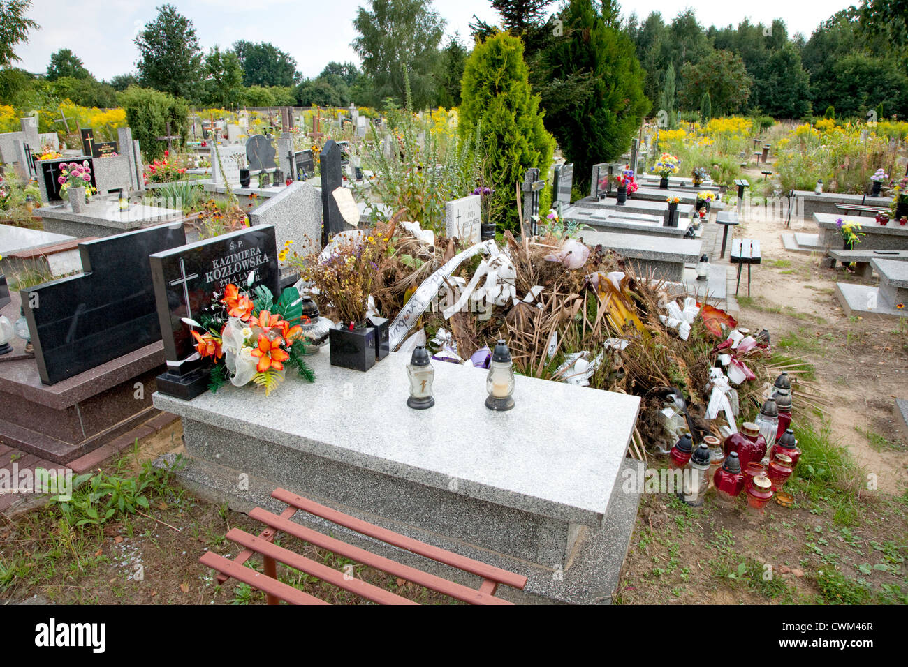 Overall view of the beautiful Roman Catholic Church's Cemetery (Cmentarz Rzymskokatolicki). Lodz Central Poland - Stock Image