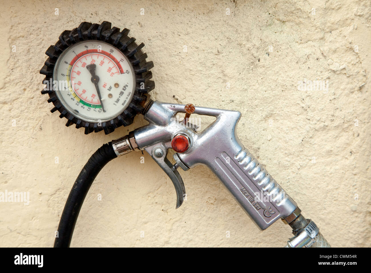 Tire air pressure gauge and delivery handle. Rzeczyca Central Poland - Stock Image