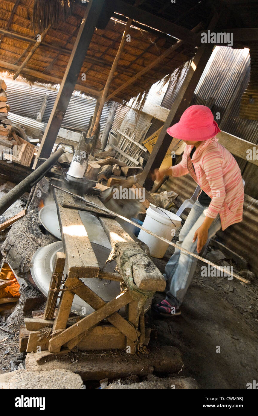 Vertical close up portrait of a Cambodian woman making rice noodles, kh'teaw, in basic surroundings. - Stock Image