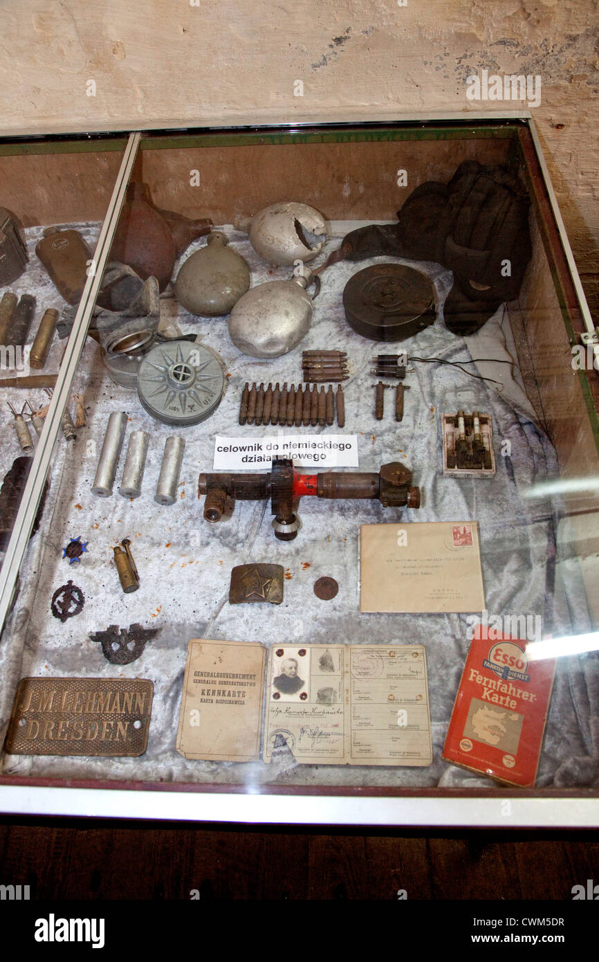 Display case of soldier's military gear and identification cards found at Hitler's Bunker. Konewka Central - Stock Image