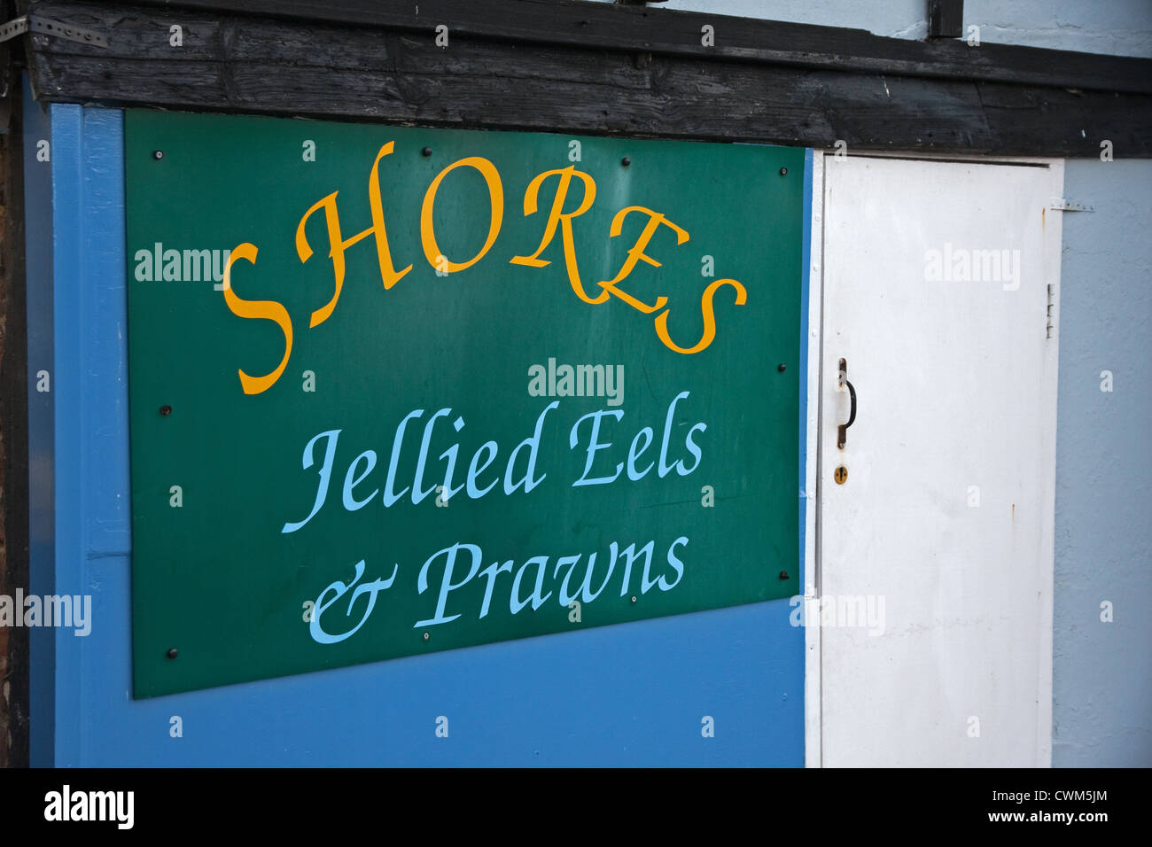 Sign outside 'Shores' Jellied Eels and Prawn shop, Hastings - Stock Image