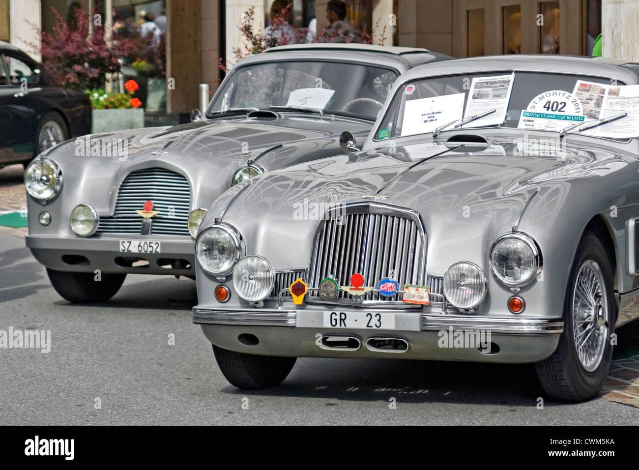 Aston Martin db mk 2 closeup during St Moritz British Classic Car Meeting, Switzerland - Stock Image