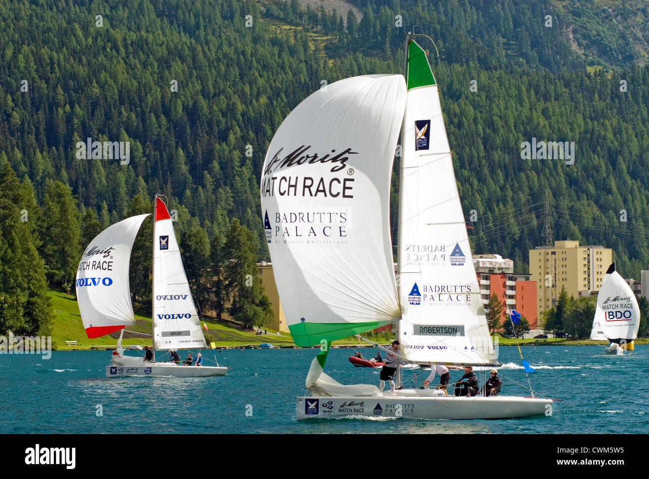 Sailing boats racing during the Match Race, St Moritz, Switzerland | Segelboote waehrend des Match Races, St.Moritz, - Stock Image