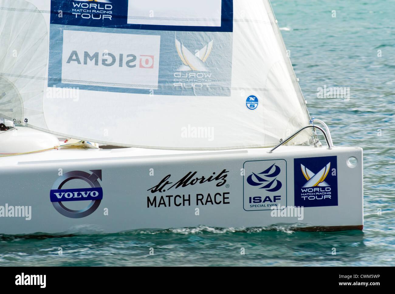 Sailing boats racing during the Match Race, St Moritz, Switzerland | Segelboote während des Match Races, St.Moritz, - Stock Image