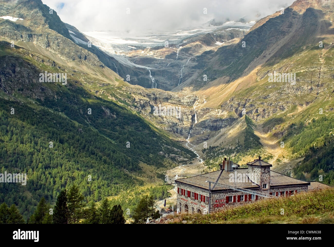 Alp Grüm Train Station and Palü Glacier, Switzerland | Bahnstation Alp Grüm und Palü Gletscher, - Stock Image