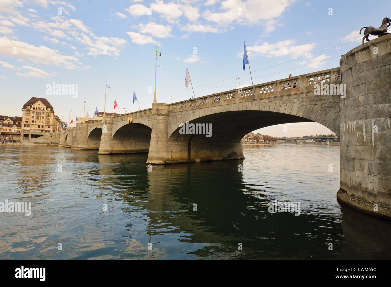 Mittlere Bruecke (Bridge), Basel. Switzerland. - Stock Image