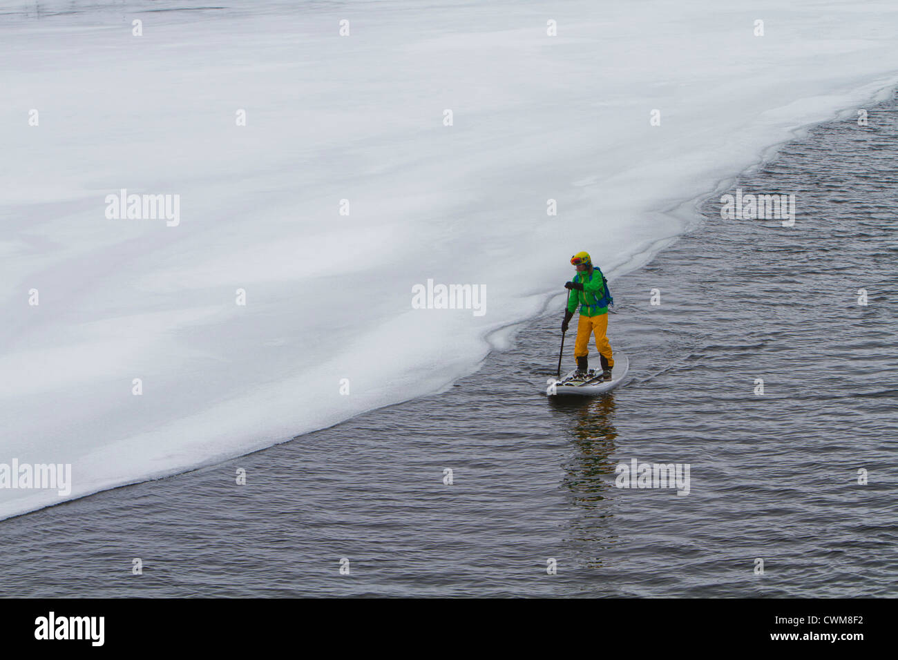 Norway, Narvik, Mature man paddling in polar ocean - Stock Image