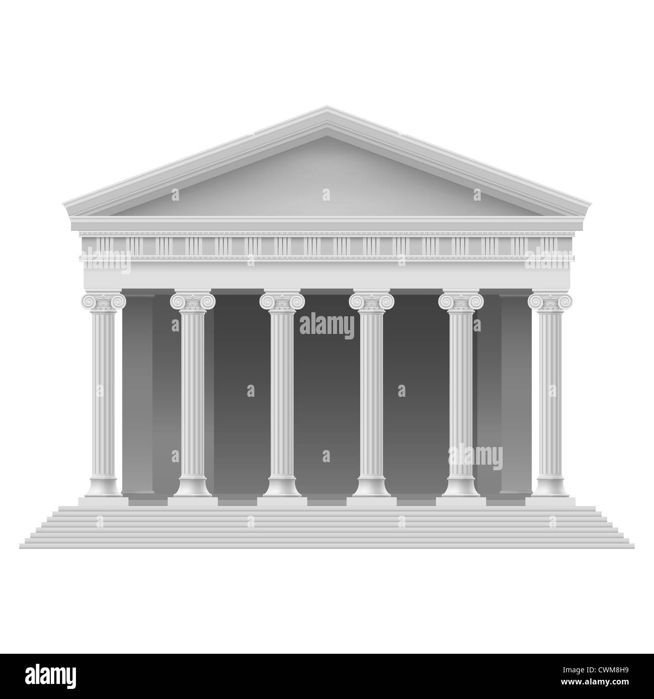 Big Portico an ancient temple. Colonnade. Illustration on white - Stock Image