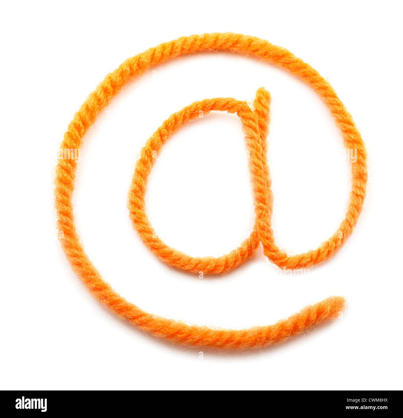 the symbol e-mail from a orange wool - Stock Image