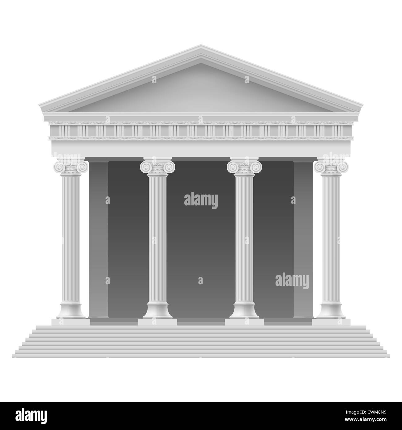 Portico an ancient temple. Colonnade. Illustration on white - Stock Image