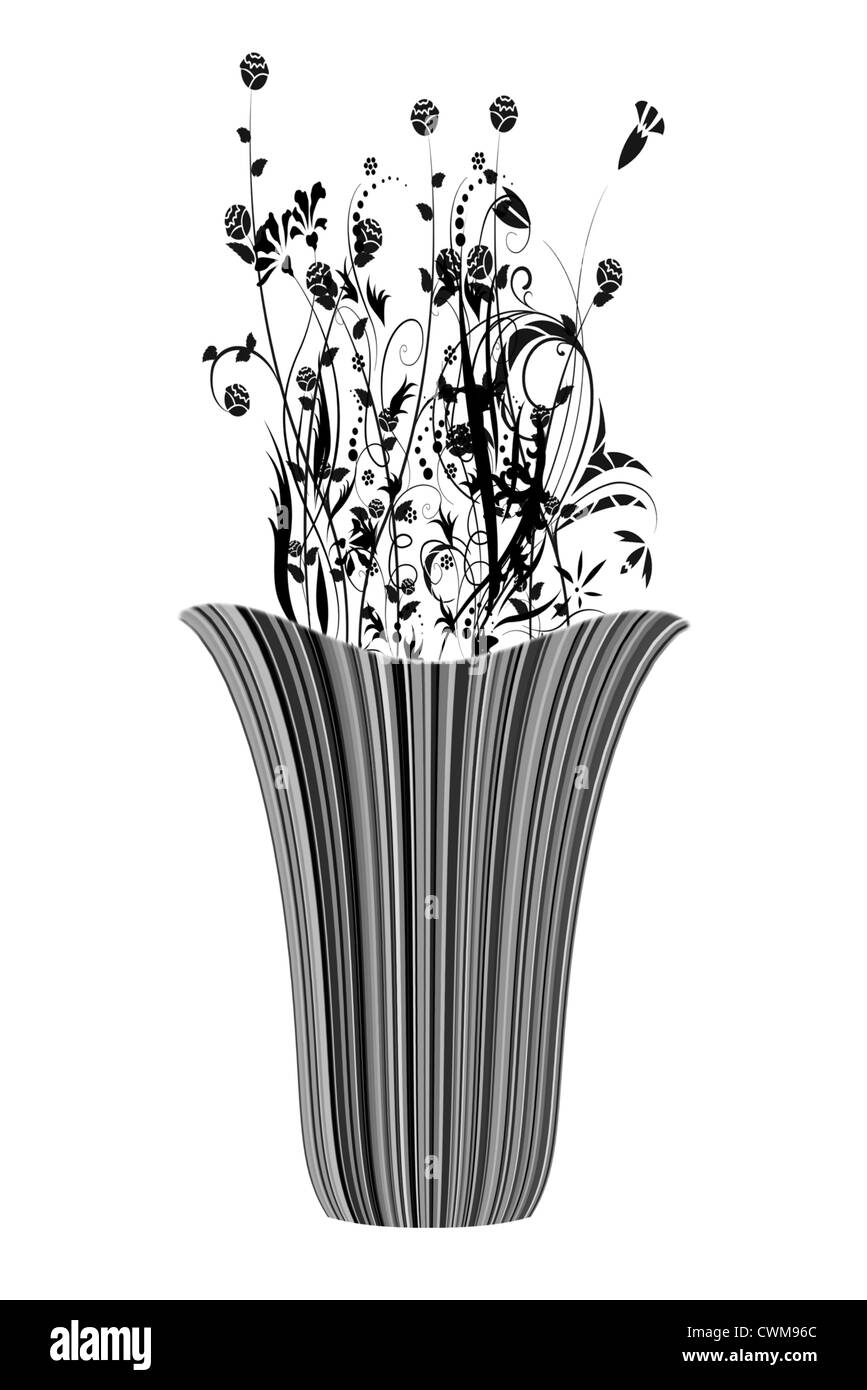 Abstract illustrated flowers with stripe vase - Stock Image