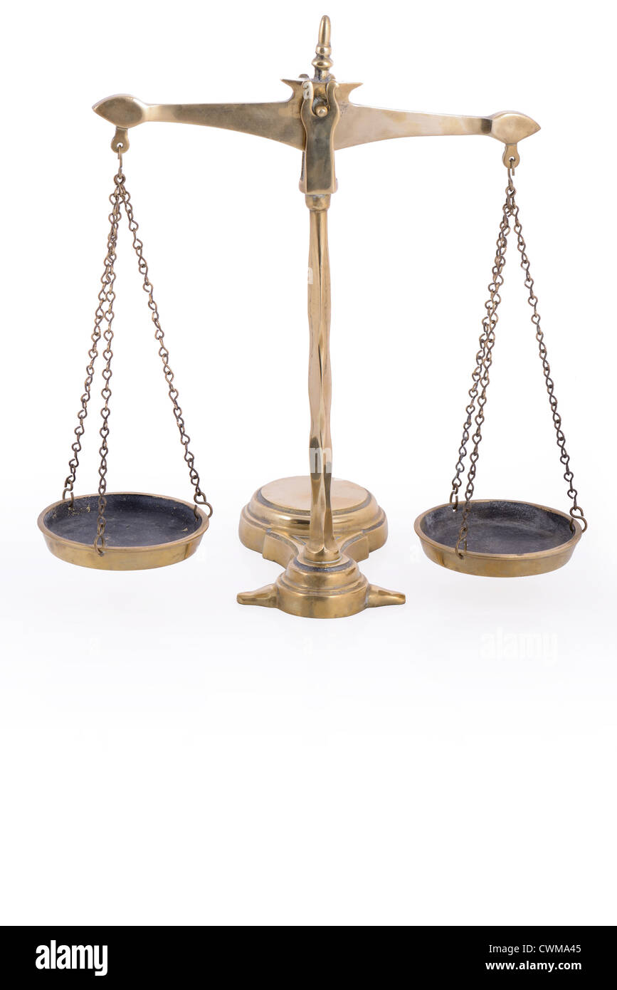Balance Scales Symbol Of Justice On White Background With Reflection