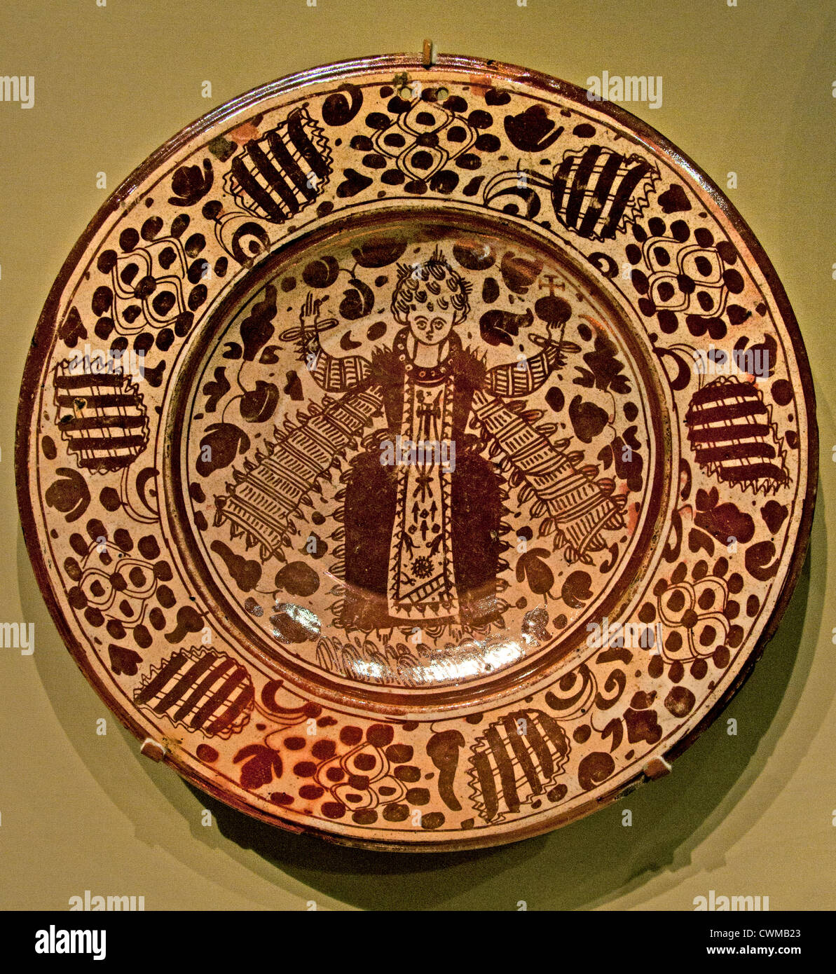 Roundel Saint Jerome Painted and gilded alabaster Spanish Spain 16 Century - Stock Image