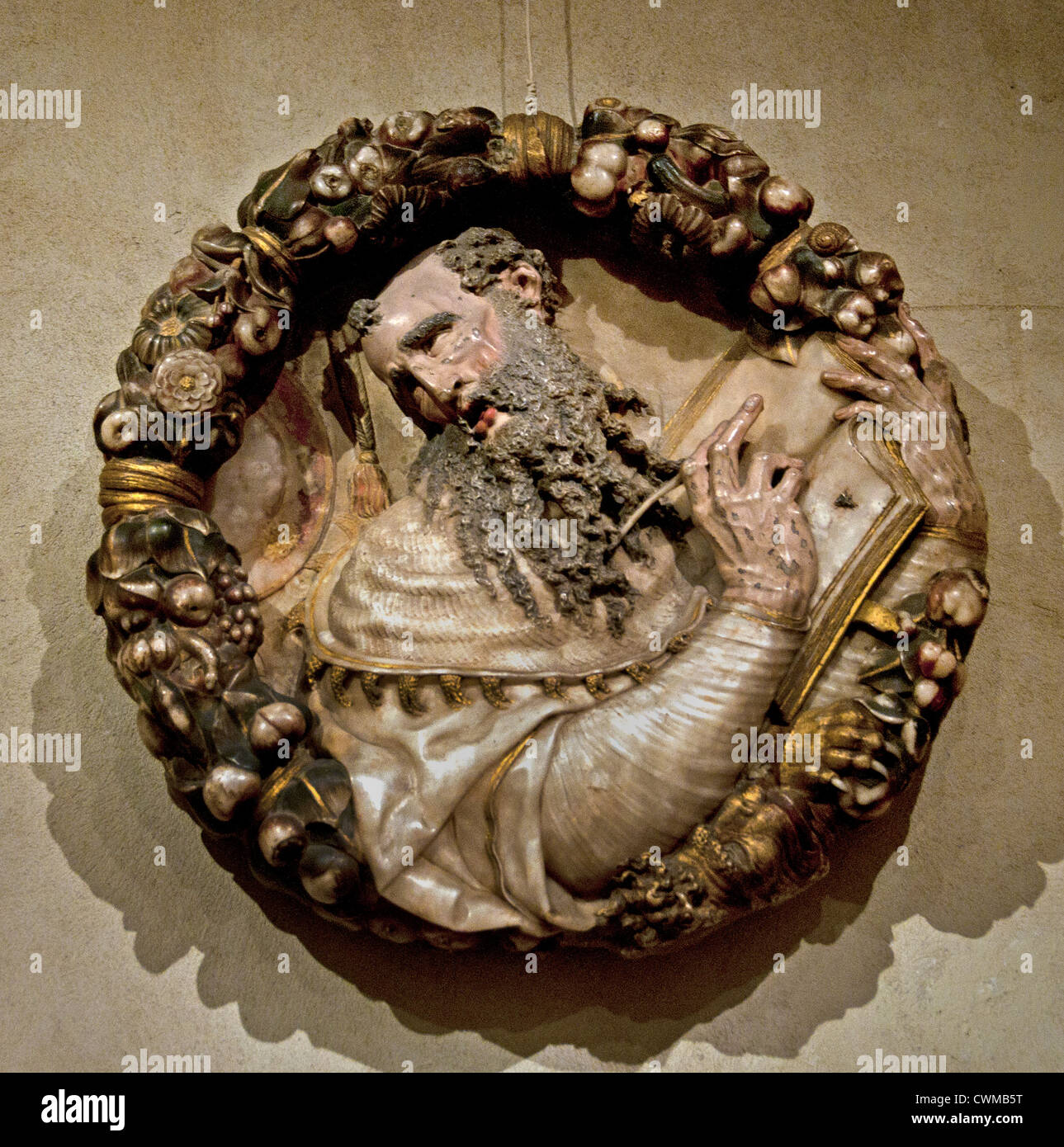 Roundel Saint Jerome Painted and Gilded Alabaster Spanish Spain 16th Century - Stock Image