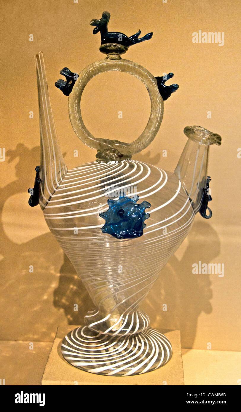 Water Vessel Càntir 18th–19th century Spanish Catalonia Glass 32 cm - Stock Image