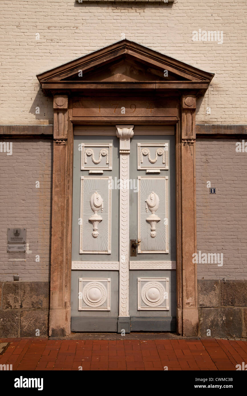 entrance to the City Hall in Schleswig, Schleswig-Holstein, Germany, Europe - Stock Image