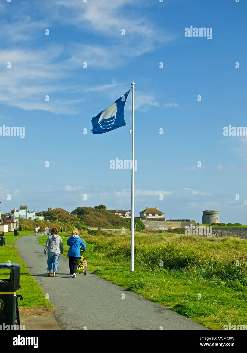The EU Blue Flag, symbol of good bathing water quality, flying on the promenade of Skerries south beach, county - Stock Image
