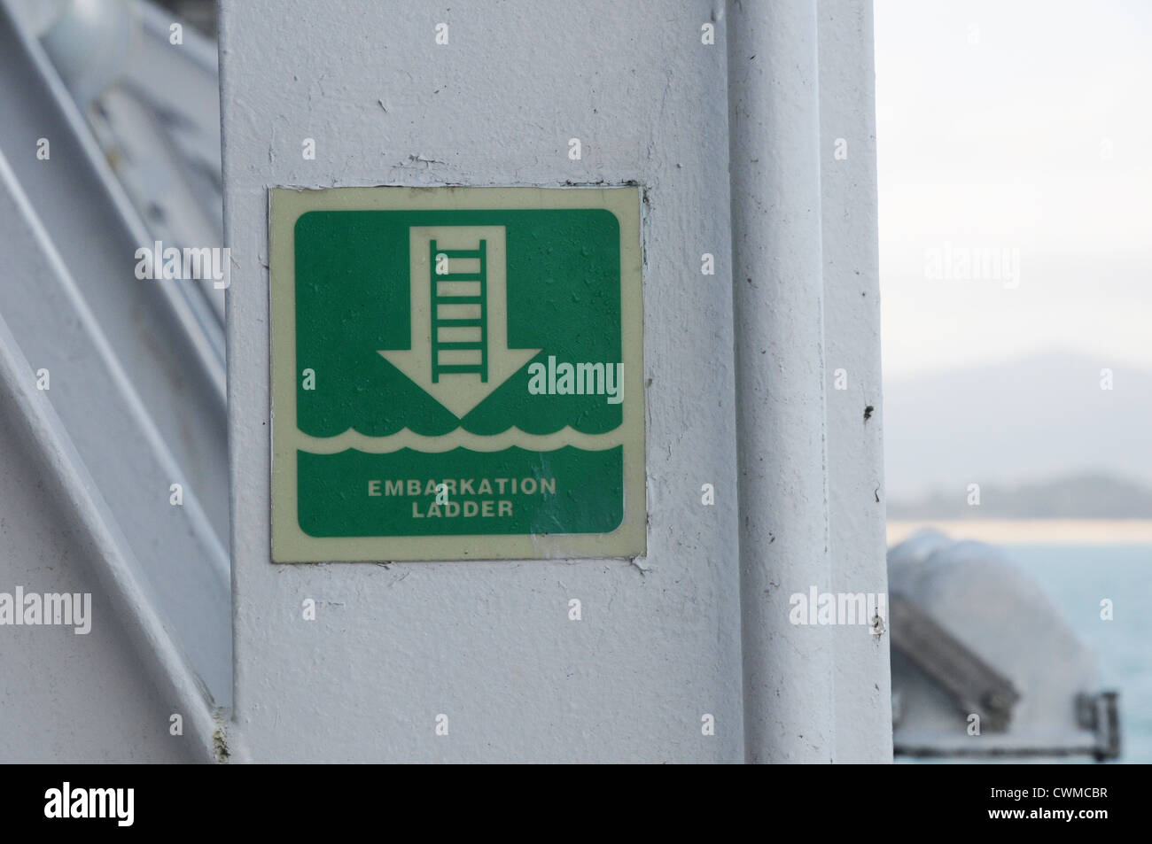 Embarkation ladder sign, cruise ferry, entering Santander. - Stock Image
