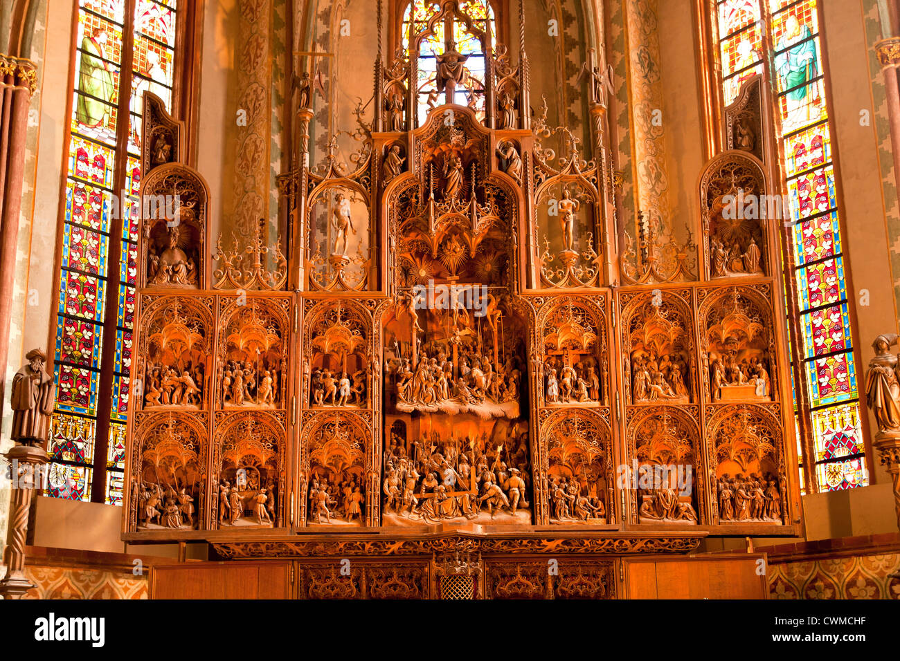 the altar, carved by Hans Brüggemann from 1514 to 1521 inside the Schleswig Cathedral, - Stock Image