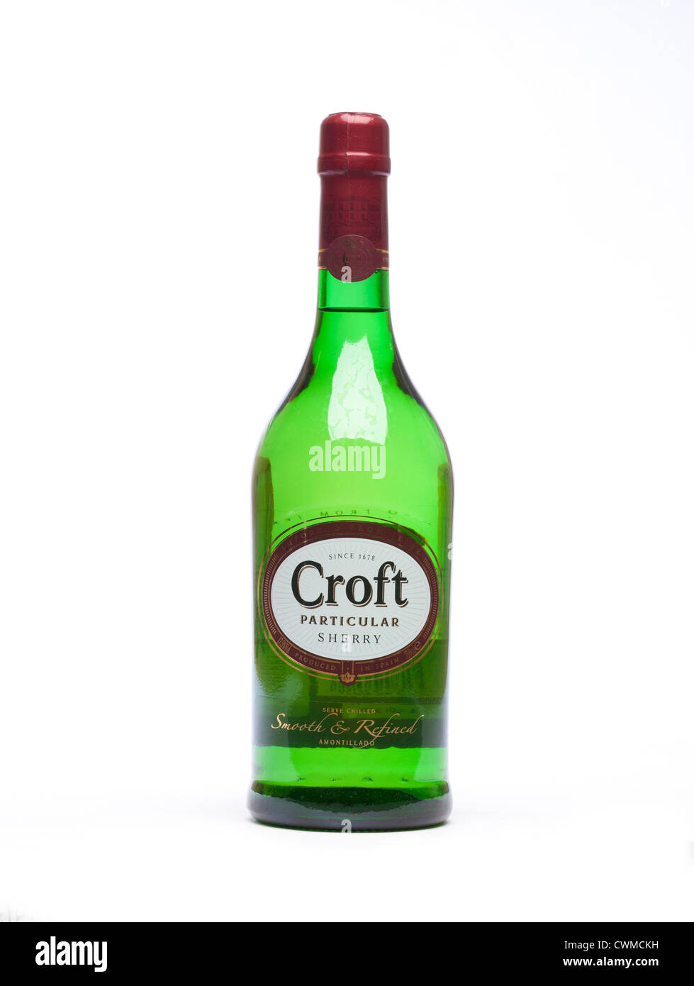 bottle of Croft Particular Amontillado sherry - Stock Image