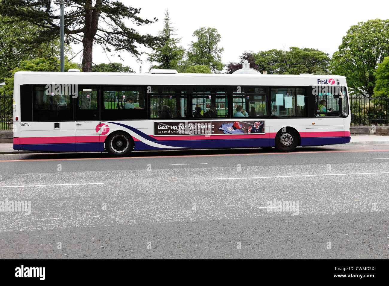 A bus operated by First Bus, Glasgow, Scotland, UK Stock Photo