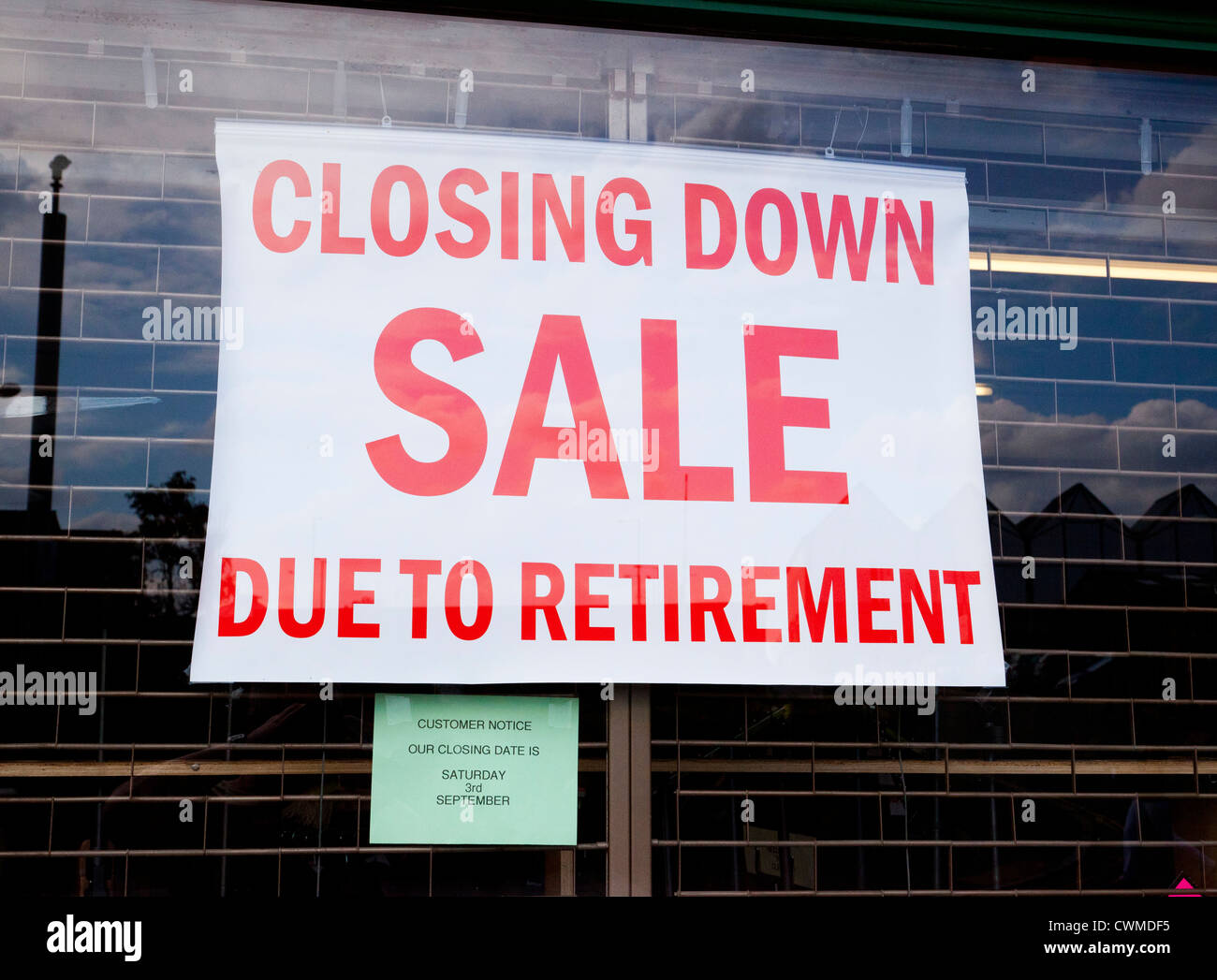 closing down sale sign - Stock Image
