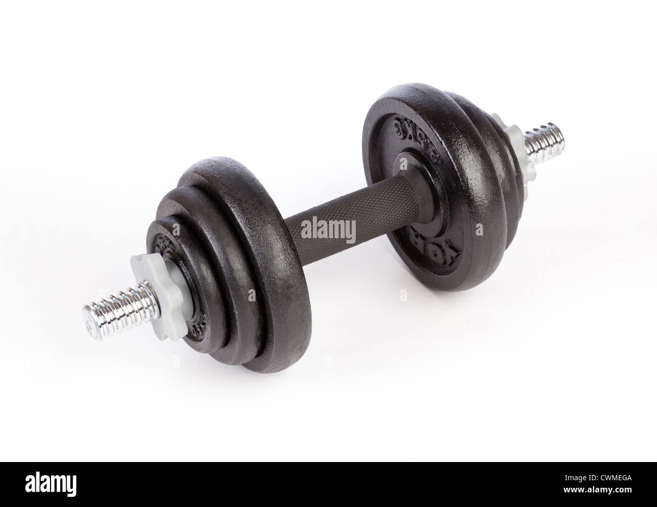 dumbbell weights made of cast iron - Stock Image