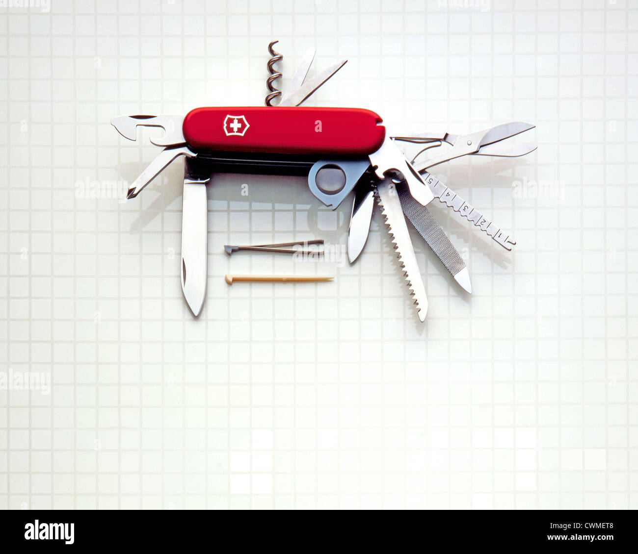 Swiss Army Knife Open - Stock Image